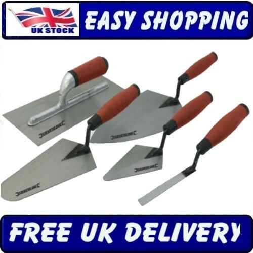 5PC TRADESMAN TROWEL SET HAND BRICK PLASTERING BUILDERS