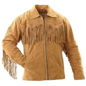 Dettagli su Da Uomo Western Wear Unique Tan in Pelle Scamosciata Cowboy Frangia NATIVI AMERICANI Cappotto Giacca mostra il titolo originale