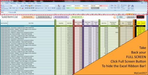 Fees Excel Spreadsheet Sales Track  Profit MyCost2017 Business Expenses