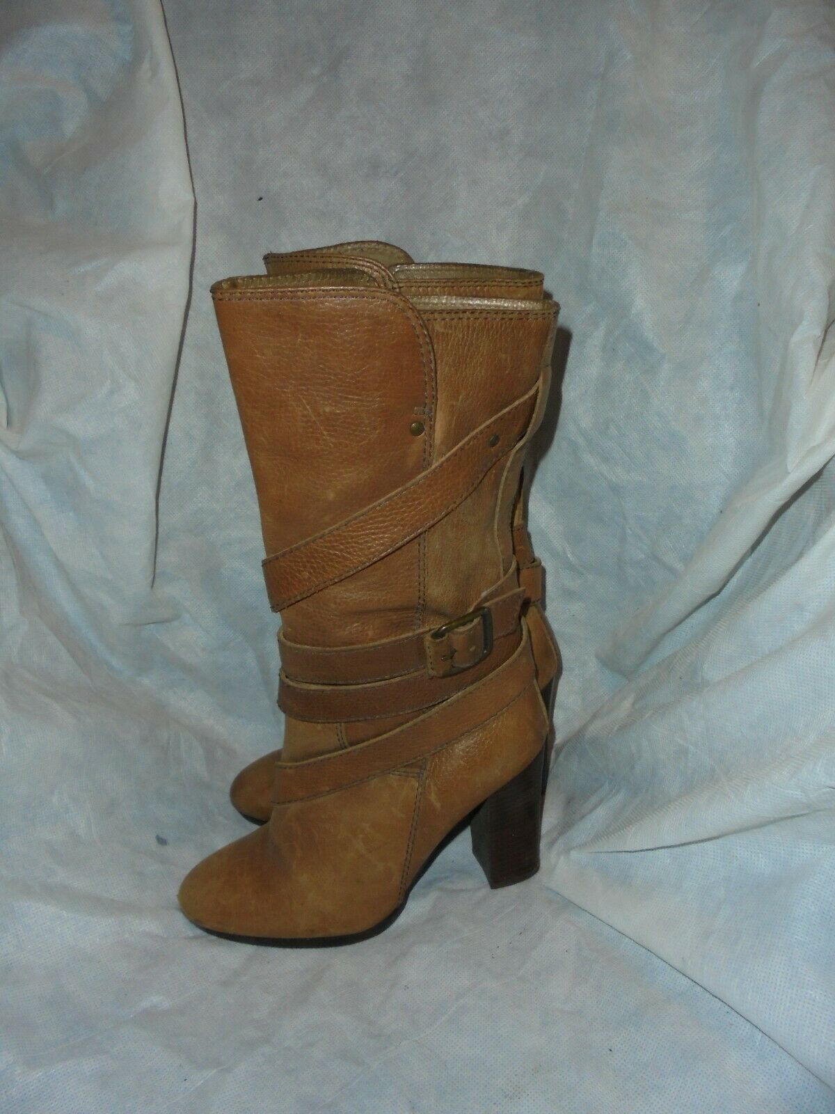 RIVERS ISLAND WOMEN BROWN LEATHER ZIP BUCKLE BUCKLE BUCKLE MID CALF BOOT SIZE UK 5 EU 38 VGC 8ea932