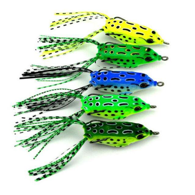 5PCS Large Frog Topwater Soft Fishing Lure Crankbait Hooks Bass Bait Tackle RA