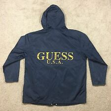 Vintage 90s Guess Jeans USA Windbreaker Rain Jacket Hip Hop A$AP Spell Out Large