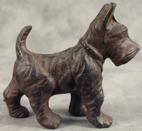 SCOTTISH TERRIER SCOTTIE DOG Heavy Cast Iron MINIATURE STATUE PAPERWEIGHT