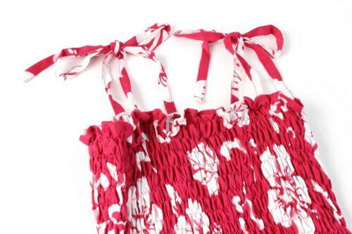 Aloha Elastic Dress Girl Summer Beach Hawaiian Cruise Luau Floral Classic Pink