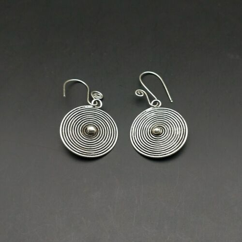 Details about  /Retro national wind exotic Chinese handmade miao silver circle earring 1pair