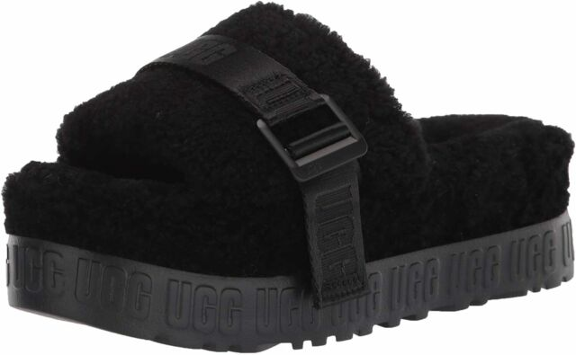 Womens UGG Fluffita Slide Slippers - Black Sheepskin [1113475]