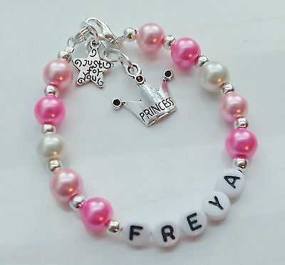 Girls  Personalised  Princess Bracelet any name colour Birthday gift