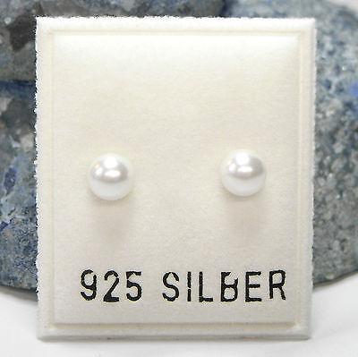 Neu 925 Silber Ohrstecker 5mm Perlen In Weiß Perlenohrringe Ohrringe Billigverkauf 50%