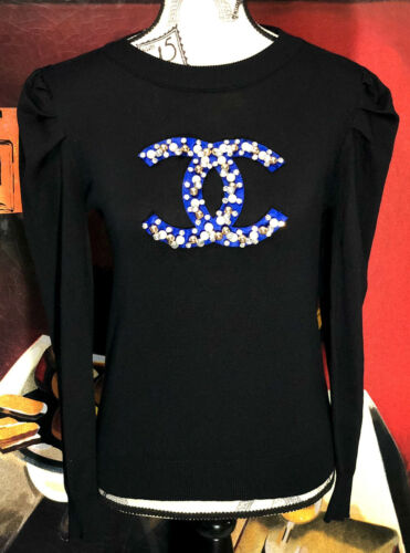 CHANEL 100% CASHMERE BLACK SWEATER