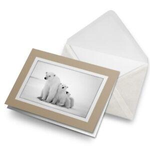 Greetings-Card-Biege-Mum-amp-Cubs-Polar-Bear-Baby-Animal-8250