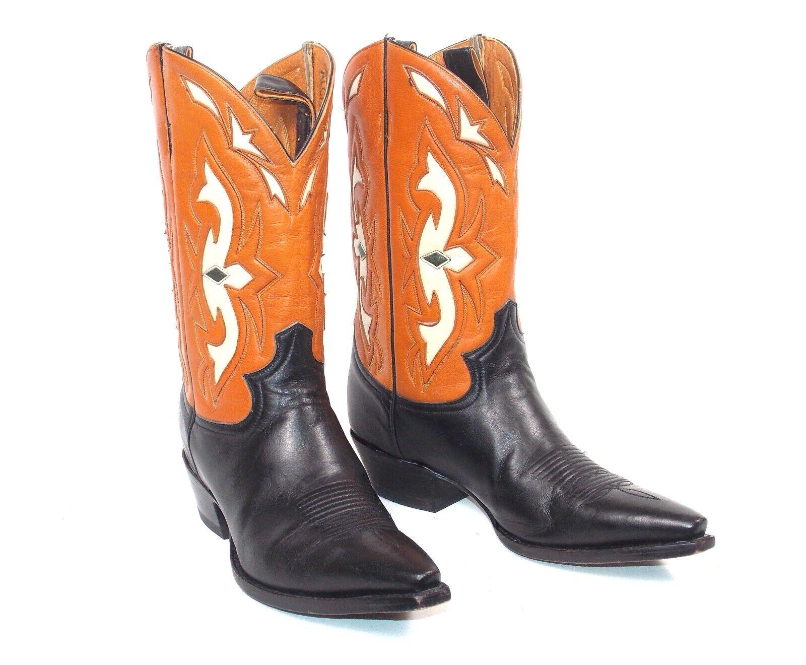 Justin Brown Tan Inlaid Cowboy Boots - Wmns Size 9B Cutout Pee Wee Worn Twice