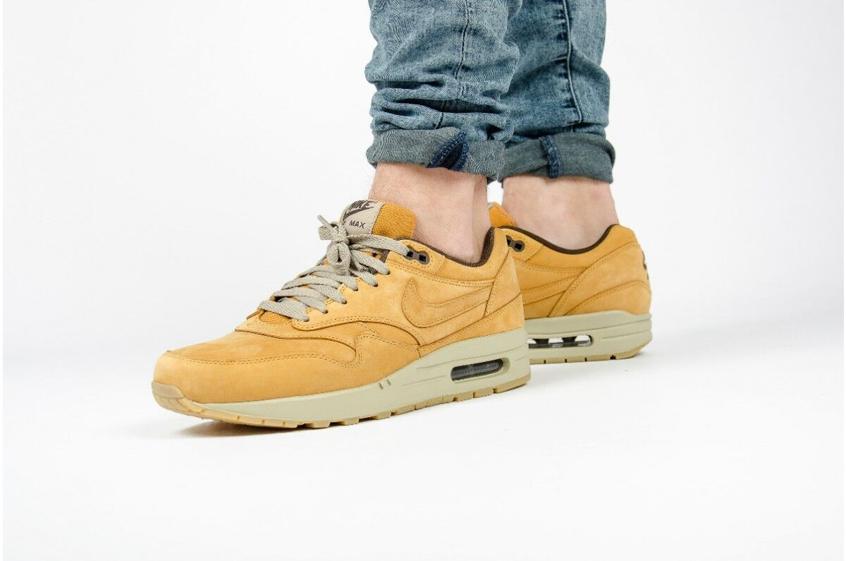 NIKE AIR MAX 1 PREMIUM LEATHER WHEAT BROWN UK 10 EUR 45 US 11 FLAX BRONZE 90 95