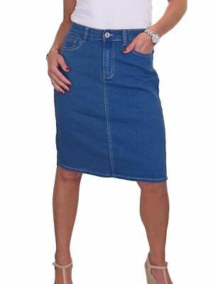Ladies Back Slit Long Stretch Deinm Jeans Skirt Fade Wash Blue 8-22