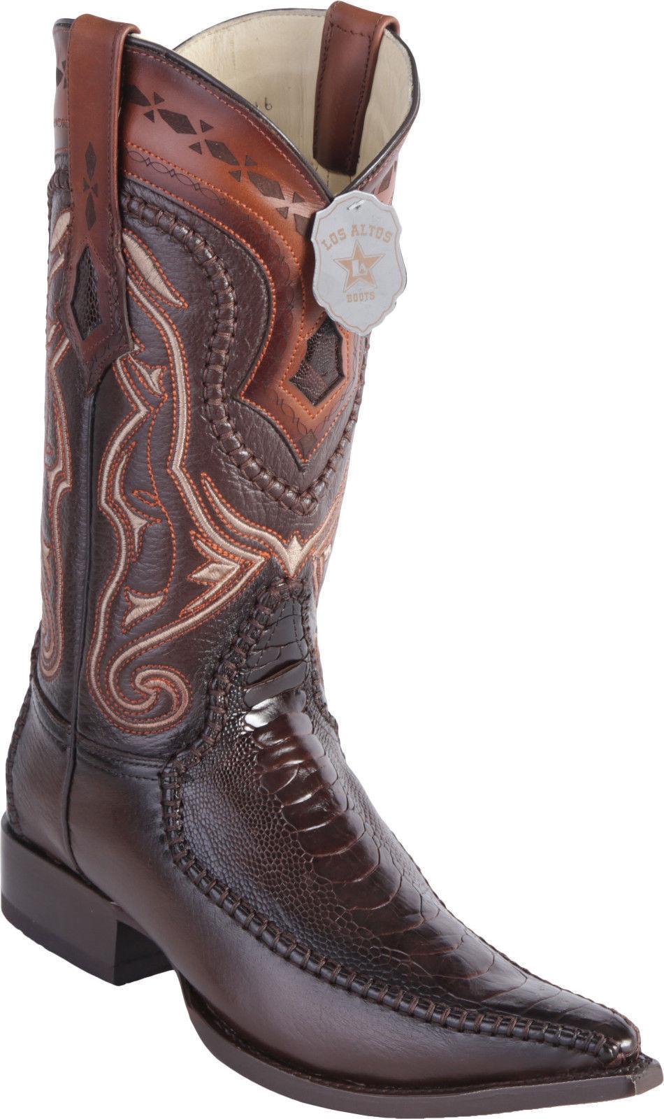 LOS ALTOS BROWN GENUINE OSTRICH LEG 3X TOE WESTERN COWBOY BOOT EE+