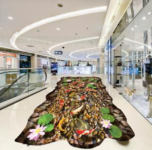 3D piedras Lotus Koi 5 Piso impresión de parojo de papel pintado mural 5D AJ Wallpaper Reino Unido Limón