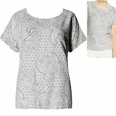 M&S size 12 Linen Blend Blouse Top Short Sleeve Blouse Paisley Ivory Grey Taupe