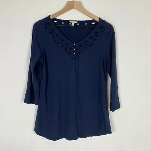 Sonoma-Womens-size-Medium-Blue-Long-Sleeve-Top-With-back-detailing