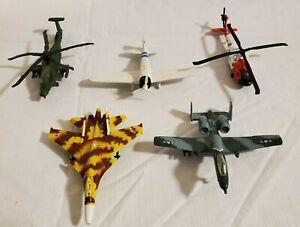 Lote-de-5-Maisto-Die-Cast-aviones-jets-hellicopters-pre-propiedad-usado