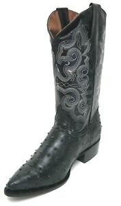 Men-039-s-New-Leather-Ostrich-Quill-Design-Western-Cowboy-Rodeo-Boots-J-Toe-Black