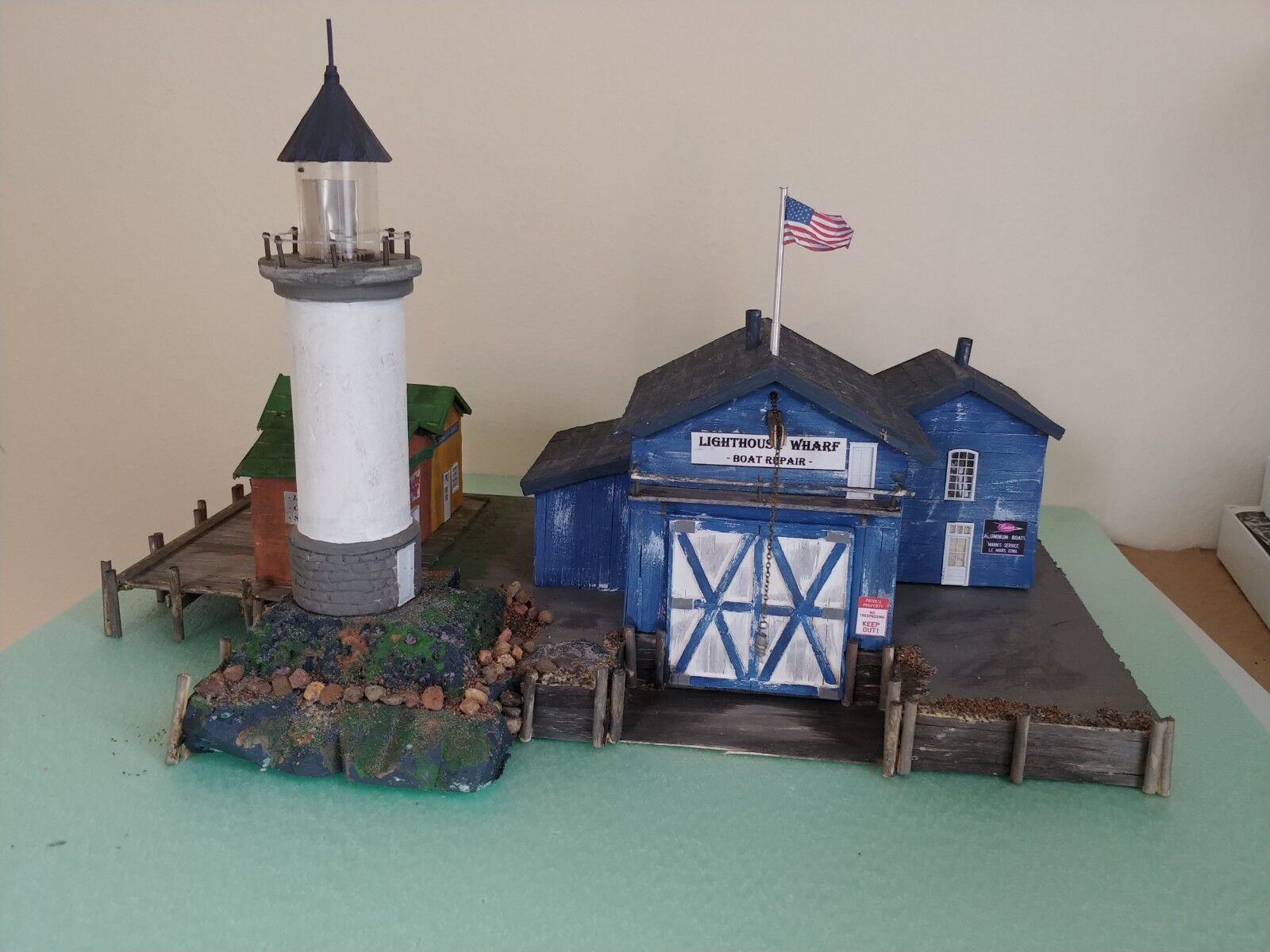 Craftsman built, HO Scale  one of a kind waterfront  Lighthouse Wharf  Diorama.