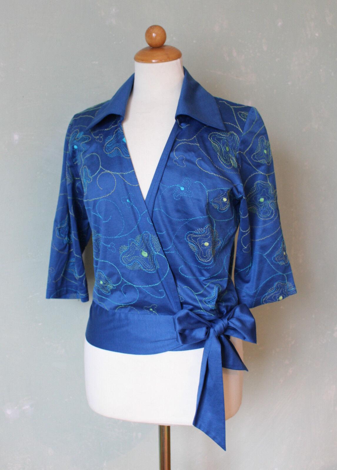 Annikki Karvinen Finland Blause Shirt Tunika Wickeltop blau Blaumen Gr. M 38 (S5)