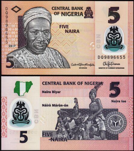 NIGERIA 5 NAIRA 2017 UNC P.NEW POLYMER