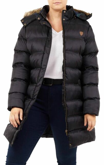 01f4fdf6e1140 Womens Plus Size Padded Puffer Jacket Hooded Faux Fur Winter Coats ...