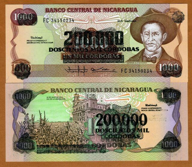 Nicaragua, 200,000 on 1000 Cordobas, ND (1990), Pick 162,  UNC
