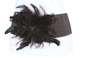 Mujer Marrón Oscuro Elástico Cinturón de Moda Pluma Flor Grande Hebilla Talla