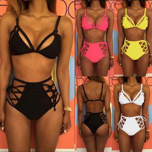 f83c07e6d9a37 Women High Waist Bandage Bikini Set Push-up Padded Bra Swimsuit ...