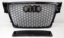 Audi A4 S4 B8 09-12 RS Style Euro Honeycomb Hex Mesh Gloss Black Grill