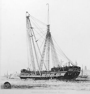 SHEER-HULK-Ship-at-Anchor-at-Portsmouth-Antique-Etching-Print-by-E-W-Cooke