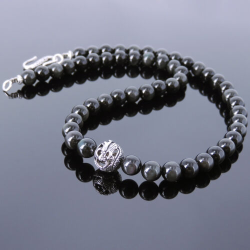 Mens Women Black Obsidian Sterling Silver Necklace Dragon Bead DIY-KAREN 113