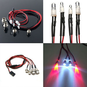 NEW-Style-RC-On-Road-Car-LED-Night-5mm-White-And-3mm-Red-Headlamps-4-LED-Light
