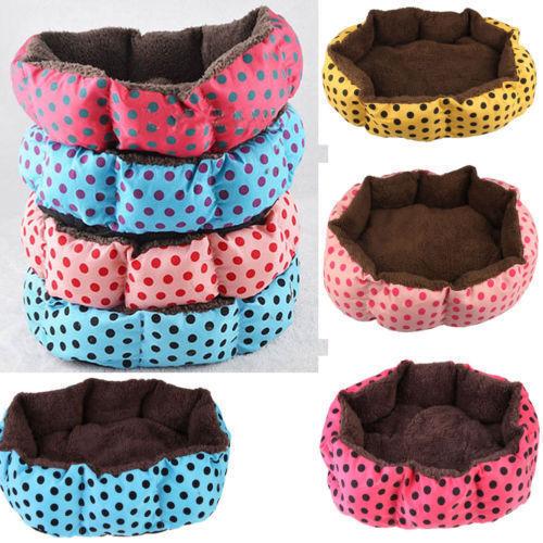 Small Large Dot Pet Dog Puppy Cat Soft Warm Nest Bed House Plush Pad Cotton Mat