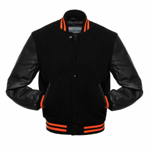 Bomberjack Varsity Ripped Style Wool Black Body Orange Letterman gBF4ZwPcq
