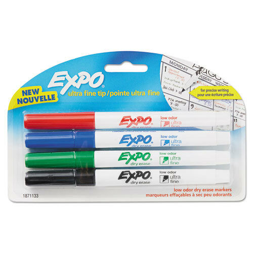 """Ultra Fine Point /""""EXPO Low-Odor Dry-Erase Marker 4//pack/"""" Assorted"""