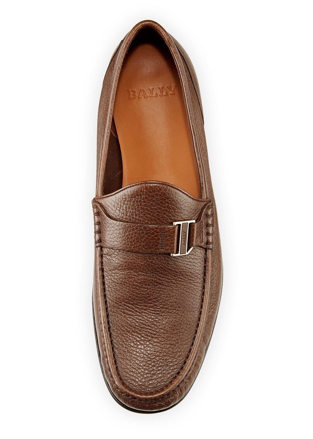 New Bally 'Suver' Brown Grained Pelle Moccasin Loafers Size 7.5/8.5   550.00