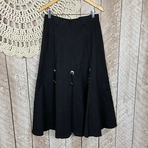 Vintage-Womens-Size-8-Western-Rodeo-Circle-T-By-Mary-Lenox-Black-Midi-Skirt