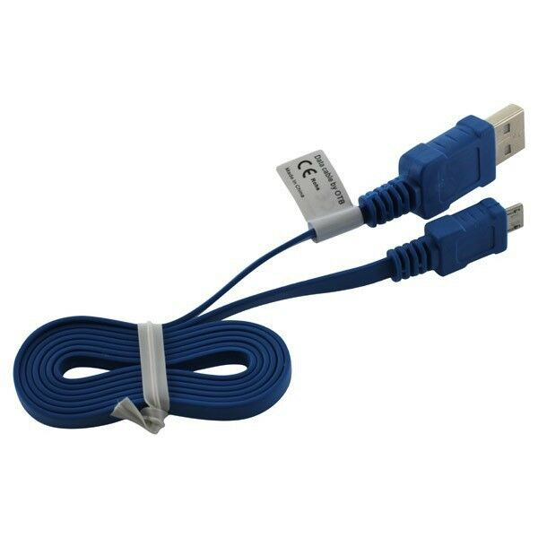OTB Datenkabel Micro-USB - 0.95m - Flachbandkabel - blau Neu & OVP