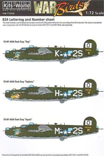 kits-world 1//72 Consolidated B-24 LIBERATOR Nummerierung /& Buchstaben ID Set