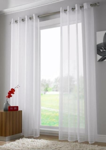 Pair of Sheer Curtain Voile Window Curtains eyelet white color 2 pcs