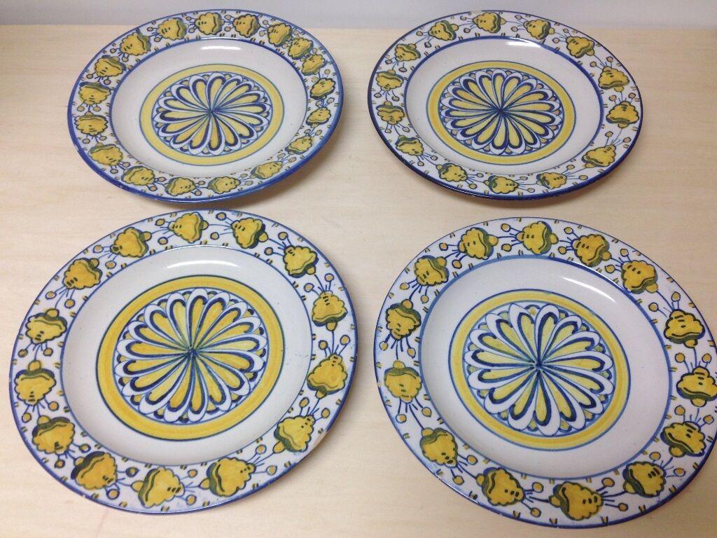 4 Céramique vernissée terre cuite bleu et jaune style méditerranéen plaques, coq