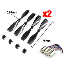 8pcs 75mm Blade Propeller 8.5x20mm Motors Set for DIY Micro FPV Quadcopter Frame