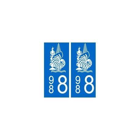 988 nouvelle calédonie autocollant plaque droits