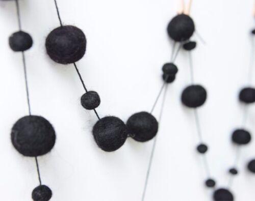 Baby Nursery.Kids Pom Pom Wall Decor. BLACK garland Felt balls garland