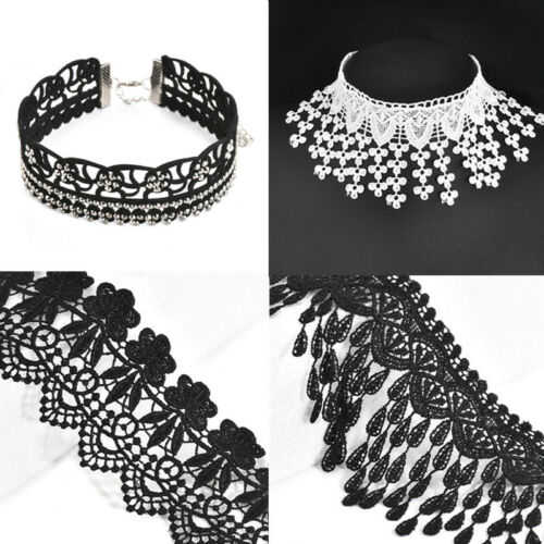 Gothic Collar WIDE  Lace drops Tassel Choker chain Necklace Costume  Jewelry