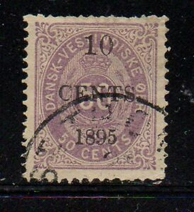 Danish-West-Indies-Sc-15-1895-10c-overprint-on-50-c-stamp-used-Free-Shipping