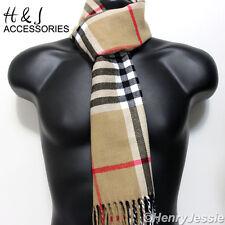 a94201cc1 Camel Beige Black Red Stripe Plaid Cashmere Feel Scarf*100%Acrylic For  Unisex