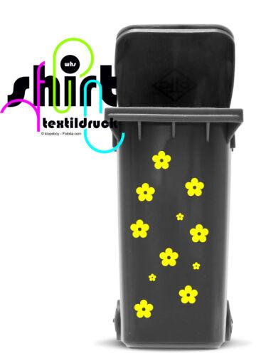 A897 Fleurs Fleur Poubelle Poubelle Autocollant Sticker poubelles Tatouage 2 Choix